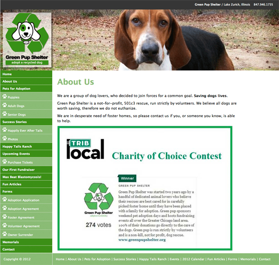 Green Pup Shelter Inside Page